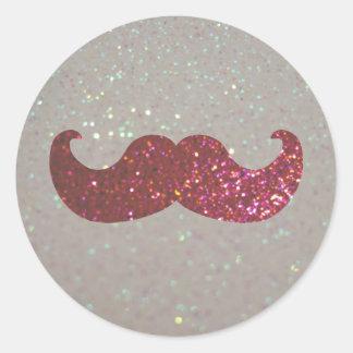 Pink Bling Mustache (Faux Glitter Graphic) Round Sticker