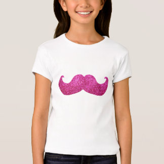 Pink Bling Mustache (Faux Glitter Graphic) T Shirts