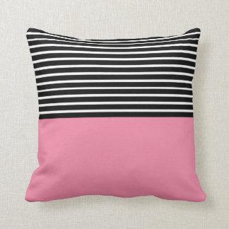 Pink Block Black White Stripes Throw Pillow