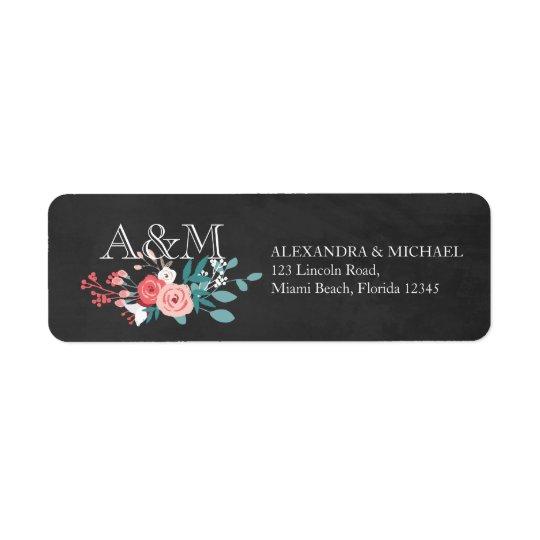 Pink Bloom and Chalkboard Wedding Return Address Label