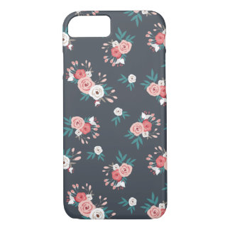 Pink Bloom in Black iPhone 7 Case