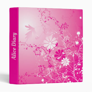 Pink Blooming Flowers - Your name 3 Ring Binder