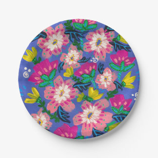 """Pink Blooms 7"""" Paper Plates"""