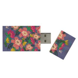 Pink Blooms Maple USB Flashdrive Wood USB Flash Drive
