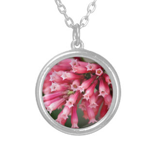 Pink Blooms Silver Plated Necklace