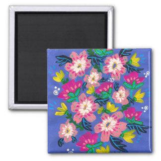 Pink Blooms Square Magnet