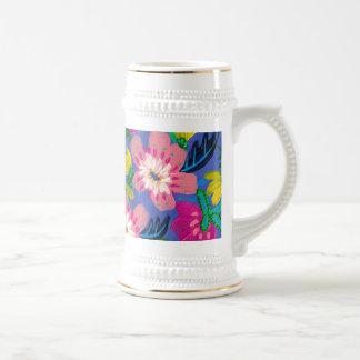 Pink Blooms White Gold Stein Mug