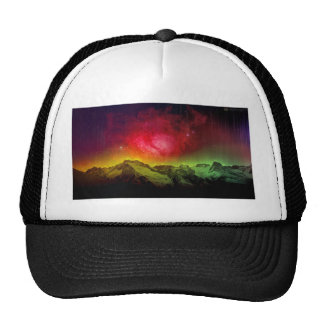 Pink Blossom Aurora Borealis Over A Rocky Mountain Trucker Hat