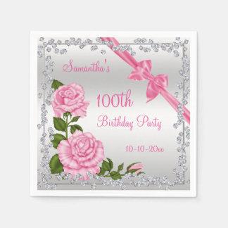 Pink Blossom, Bows & Diamonds 100th Napkin