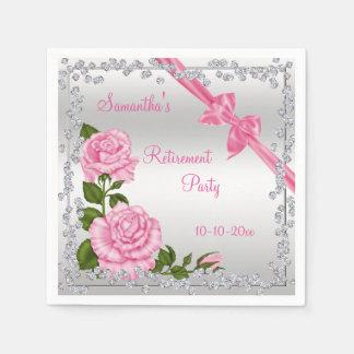 Pink Blossom, Bows & Diamonds Retirement Paper Napkin