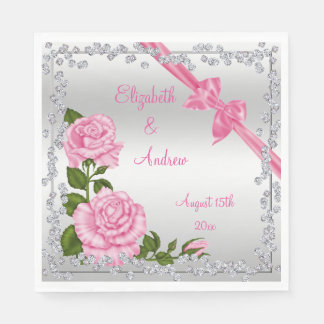 Pink Blossom, Bows & Diamonds Wedding Paper Napkin