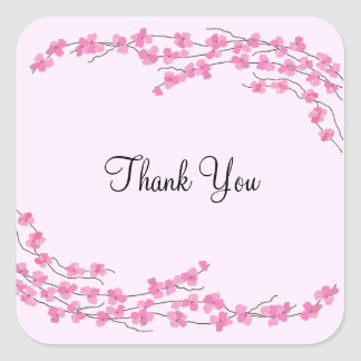 Pink Blossom Thank You Square Sticker