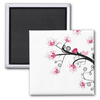 PINK BLOSSOM TREE SQUARE MAGNET