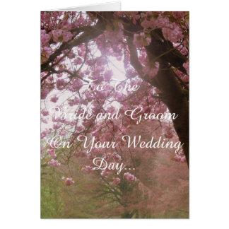 Pink Blossom Wedding Day Card