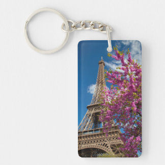 Pink Blossoming Tree Below The Eiffel Tower Double-Sided Rectangular Acrylic Keychain