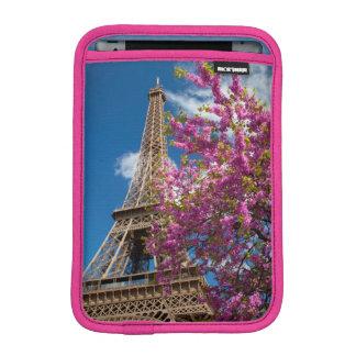 Pink Blossoming Tree Below The Eiffel Tower iPad Mini Sleeves