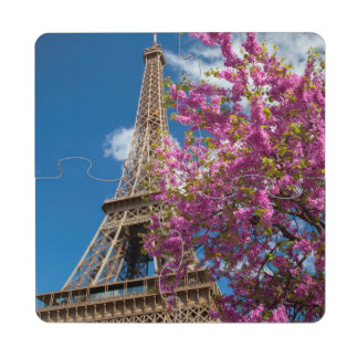 Pink Blossoming Tree Below The Eiffel Tower Puzzle Coaster