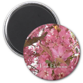 Pink Blossoms 2 Inch Round Magnet
