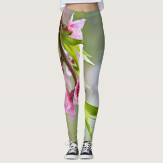 Pink Blossoms and Stripes Leggings