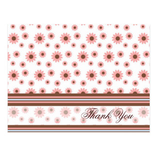"Pink Blossoms & Stripes ""Thank You"" Card Postcard"