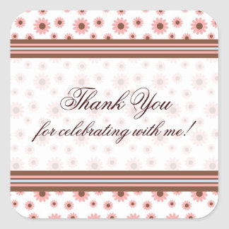 "Pink Blossoms & Stripes ""Thank You"" Stickers"