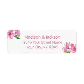 Pink Blossoms Wedding Couple Return Address Return Address Label