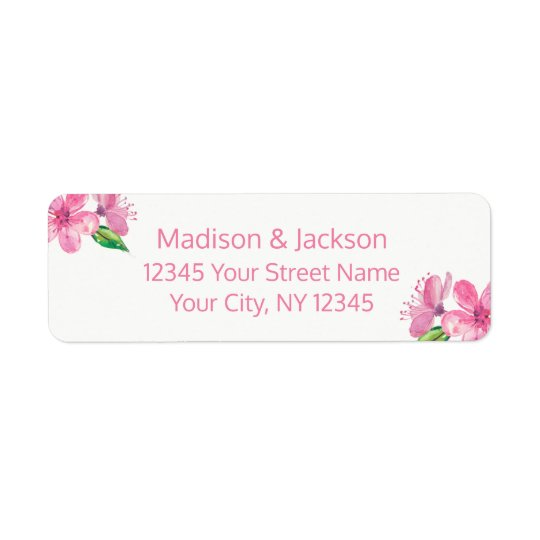 Pink Blossoms Wedding Couple Return Address Return Address Label