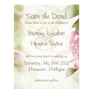 Pink Blossoms Wedding Save the Date Personalized Flyer