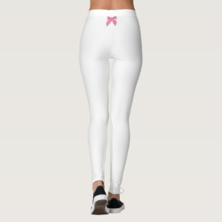 Pink Blow accent White Leggings