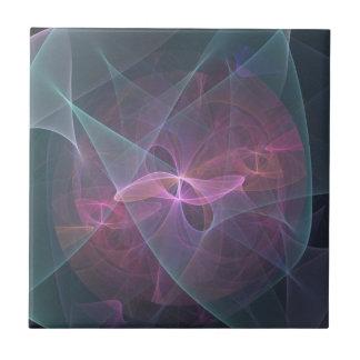 Pink Blue And Black Fractal Tile