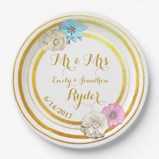 Pink, Blue  and Gold Floral Wedding Paper Plates
