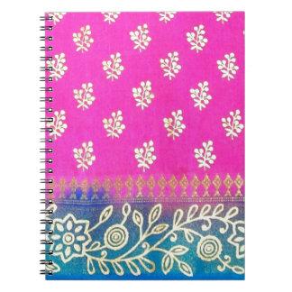 Pink Blue and Gold Sari Art Notebooks