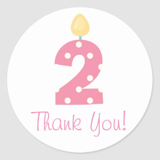 Pink Blue and Gray 2nd Birthday Thank You Stickers