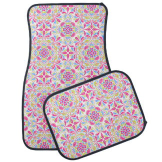 Pink blue and green kaleidoscope pattern car mat