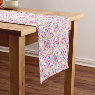 Pink blue and green kaleidoscope pattern short table runner