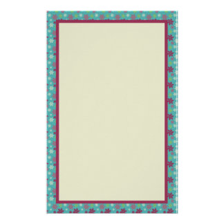 Pink Blue and Green Snowflake Pattern Stationery Design