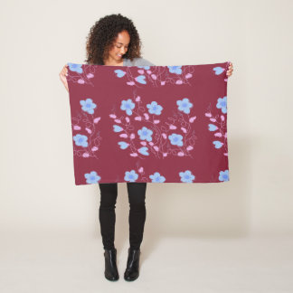 Pink Blue And Plum Wine Floral Fleece Blanket