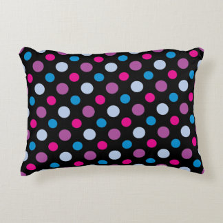 Pink Blue and Purple Polka Dots Pattern Decorative Pillow
