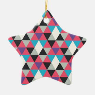Pink Blue and White Triangle Pattern Ceramic Ornament