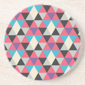 Pink Blue and White Triangle Pattern Coaster
