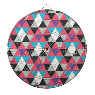 Pink Blue and White Triangle Pattern Dartboard