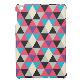 Pink Blue and White Triangle Pattern iPad Mini Cover