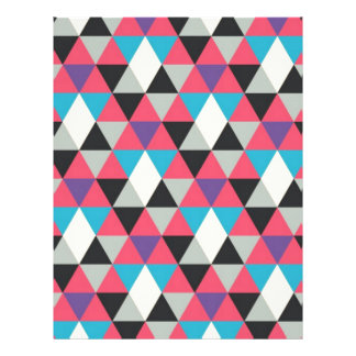 Pink Blue and White Triangle Pattern Letterhead