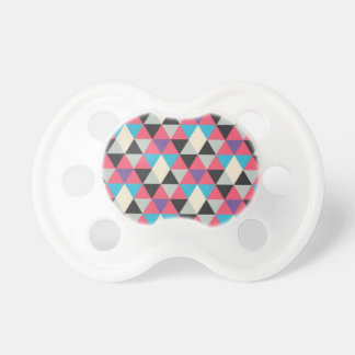 Pink Blue and White Triangle Pattern Pacifier
