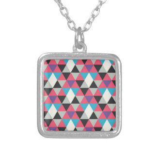 Pink Blue and White Triangle Pattern Silver Plated Necklace