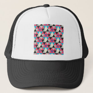Pink Blue and White Triangle Pattern Trucker Hat