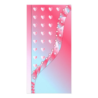 Pink, blue and white Valentine design Photo Cards