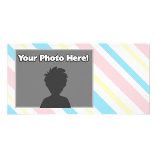 Pink Blue and Yellow Striped Photo Greeting Card