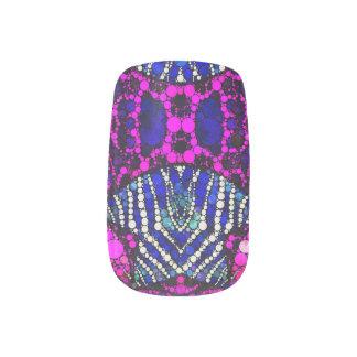 Pink Blue Animal Print Bling Minx Nail Art