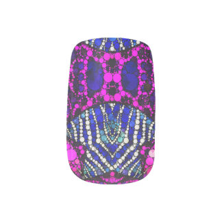 Pink Blue Animal Print Bling Nails Stickers